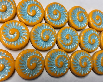 Clearance 6 Opaque Orange Turquoise Blue Spiral Beads Czech Glass Round Coin Ammonite Nautilus Shell Swirl Beads 18mm 6 pcs