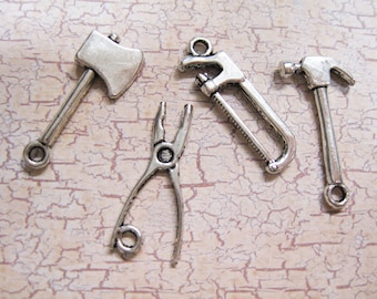Clearance 8 Antique Silver Tone Double Sided Mixed Tool Set Charms C207B