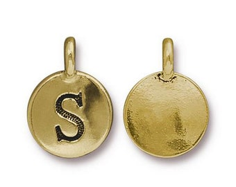 "Letter ""S"" Initial Pendant Tiny Gold Charm TierraCast Antique Gold Alphabet Charms TierraCast Lead Free Pewter 16.5x11.5mm One Charm"
