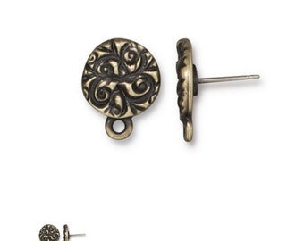 Earring Posts Oxidized Brass Plated Jardin Earring Studs with Ear Nuts Earring 1 pair F241C