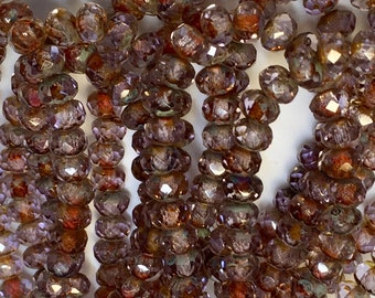 Lavender Transparent Czech Pressed Glass Small Faceted Rondelles with Picasso Finish 3mm x 5mm 30 beads