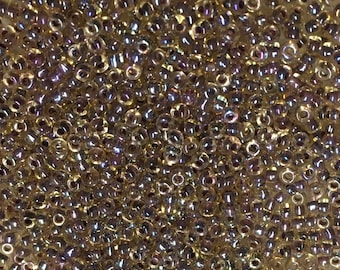 11/0 Crystal Topaz Lined AB Japanese Glass Seed Beads 6 inch tube 28 grams #342