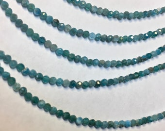Blue Apatite 2.5mm Faceted Gemstone Round Beads Approx 85 Beads