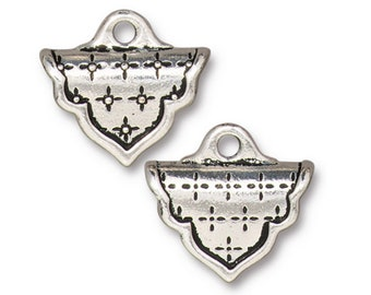 Marrakesh Crimp End TierraCast Antiqued Silver Plate for Loom or Stitched Beadwork 19x17mm 2 pcs F183E