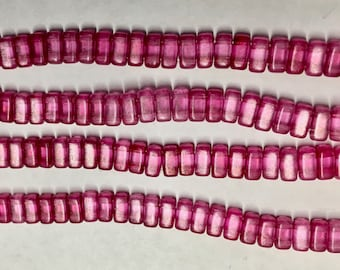 Halo Dark Pink Fuchsia CzechMates 3x6mm Bricks Czech Glass Beads Approx 50 beads