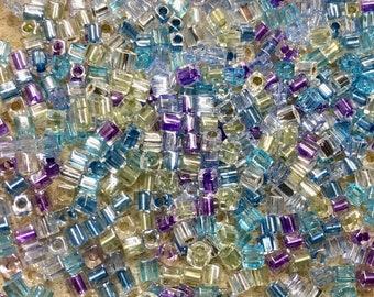 Serenity Mix Cubes 3mm Miyuki Cube Beads Purple Aqua Crystal 11 grams