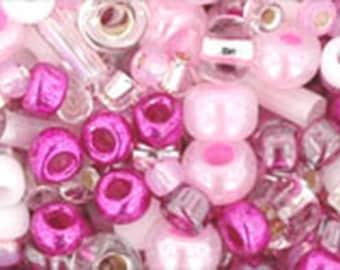 Cherry Pink Mix Toho Glass Seed Beads 2.5 inch tube 8 grams TX-01-3214