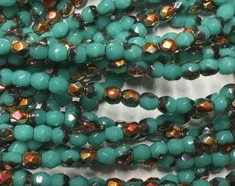 Blue Green Turquoise Copper Luster Czech Glass Firepolished Crystal Beads 3mm 50 beads