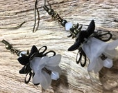 Vintage Inspired Earrings White Acrylic Bell Flowers Antique Bronze Filigree Petals with Swarovski Crystals