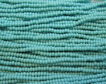 11/0 Green Turquoise Opaque Genuine Czech Glass Preciosa Rocaille Seed Beads 19 grams