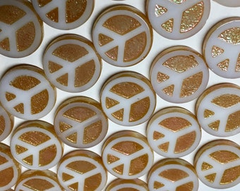 8 Peace Sign White with Peach Coral AB Czech Flat Carved Table Cut Glass Beads 15mm 8 beads