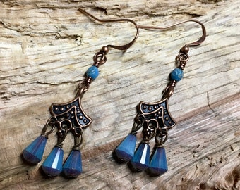 Art Deco Antique Copper Dangles with Aqua Bronze Czech Glass Dangles Surgical Steel Ear wires