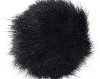 Extra Large Imitation Fur Faux Black Fur Pom Pom Ball with Loop for Craft Projects Hat Decoration Knitting Crochet 127mm 5 inches