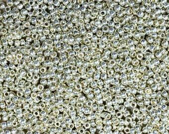 11/0 Perma Finish Silver Toho Japanese Seed Beads 6 Inch Tube 28 grams #P470