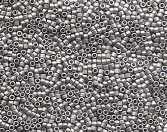 11/0 Miyuki Delica Matte Palladium Plated Glass Seed Beads 7.2 grams DB336