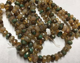 Champagne Mix with Picasso Czech Pressed Glass Small Faceted Rondelles Transparent Brown Turquoise 3x5mm