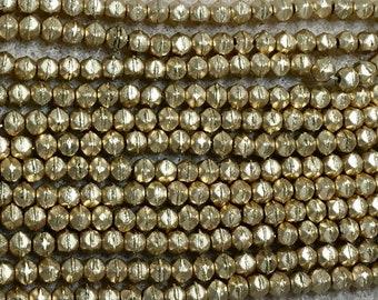 Matte Metallic Flax Gold 3mm English Cut Czech Pressed Glass 50 beads
