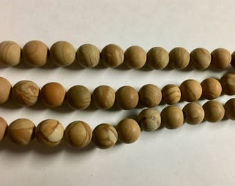 Earthy Wood Jasper 8mm Matte Round Gemstone Beads 8 Inch Strand Approx 24 beads