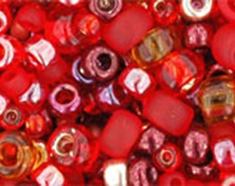 Red Mix Toho Glass Seed Beads 2.5 inch tube 8 grams TX-01-3208