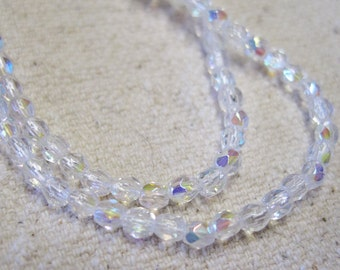 4mm Fire Polished Crystals Transparent Crystal AB Czech Glass Firepolished Crystal Beads Approx. 50 beads