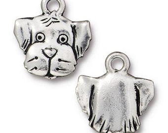 Spot Dog Charm Antique Silver Animal Charm TierraCast Lead Free Pewter 17mm x 12mm 1 pc