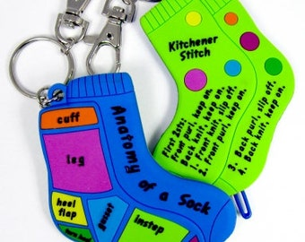 Kitchener Stitch Anatomy of A Sock Key Chain 2 Sided Sock Doctor Darning Needle Included
