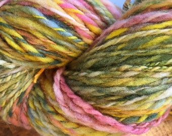 Salmon Run Gold Blue Grey Salmon Hand-spun Yarn Chunky 2 Ply by Housecats Hats 170 yards