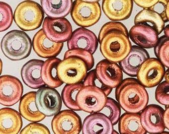 O Beads Purple Iris Gold Czech Glass Donut Ring Beads 3.8 x 1mm 8.1 grams