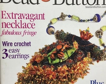 25% OFF Bead and Button Magazine Fabulous Fringe Wire Crochet, Crystal Cuff Bracelet Silver Clay Flowers Glass Bead Artists August 2004