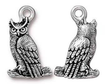 Owl Charm Antique Silver Night Bird Pendant Charm TierraCast Lead Free Pewter 22mm x 14mm 1 pc F397B
