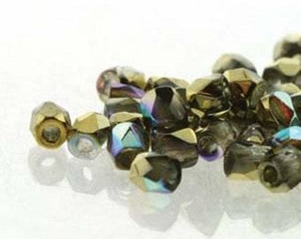 ON SALE Crystal Gold Rainbow 2mm True Fire Polish Czech Glass Crystal Beads 50 beads