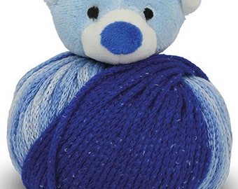 Clearance Blue Teddy Bear Knitting Hat Kit Kids Teens Hat Kit Top This by DMC