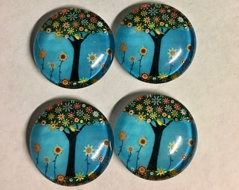 4 Tree with Happy Flowers Flat Back Glass Dome Cameo Jewelry Cabochon Pendant 20mm Round 4 pcs