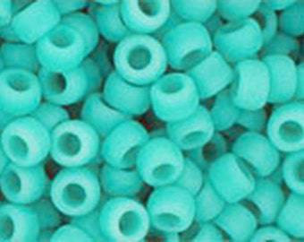 8/0 Opaque Frosted Turquoise Toho Glass Seed Beads 2.5 inch tube 8 grams TR-08-55F