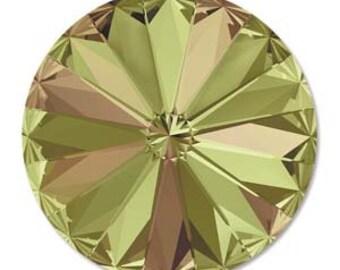 10mm Swarovski 1122 Crystal Luminous Green Faceted Foil Back Rivoli 47ss 2 pcs