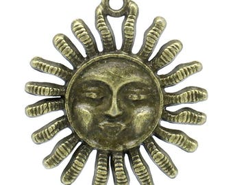 Clearance 5 Sun Face Pendants Charms Single Sided Radiant Sun Antique Bronze 33mm C151