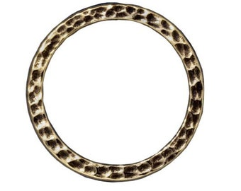 Extra Large Hammertone Flat Closed Ring TierraCast Oxidized Brass Lead Free Pewter 25mm F379B