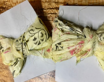 Lemon Yellow Patterned Indian Sari Silk Block Printed Ribbon 6 yards for Macrame Wrapping Knitting Kumihimo Knotting