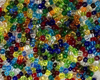 8/0 Transparent Multi Color Mix Japanese Glass Rocaille Seed Beads 6 Inch tube 28 grams