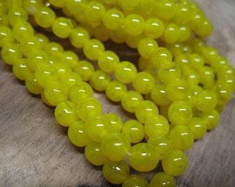 30 Yellow Opal Czech Pressed Glass Round Druk Beads 6mm