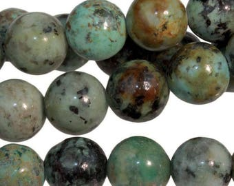 Clearance African Turquoise 8mm Gemstone Rounds Approx 23 beads 8 Inch strand Last one