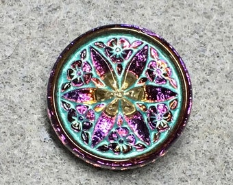 Star Flower Volcano Vitrail Czech Glass Button with Turquoise Wash and Metal Shank 18mm