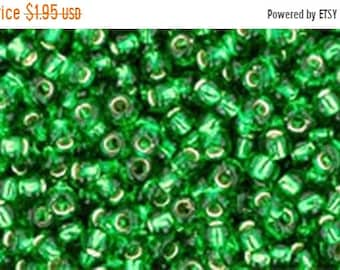 ON SALE 11/0 Silver Lined Grass Green Toho Glass Seed Beads 2.5 inch tube 8 grams TR-11-27B