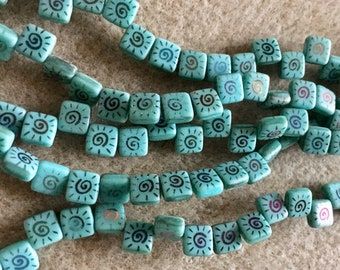Turquoise Swirl Patterned CzechMates Two Hole Tile Beads Czech Pressed Glass Square Beads 6mm 25 beads