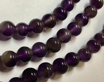 Amethyst 8mm Smooth Round Gemstone Beads with 2mm Large Hole Approx 24 beads per 8 inch strand