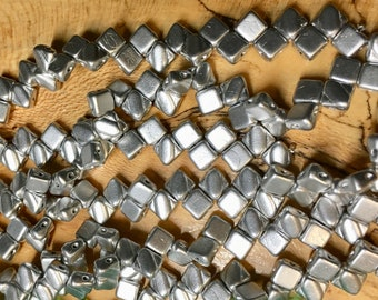 Crystal Bronze Aluminum Two Hole Silky Czech Pressed Glass 6mm Two Hole Angled Square Beads 40 pcs