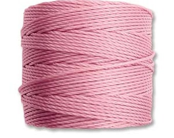 Rose Pink S-Lon #18 Bead Cord Tex 210 Multi Filament Twisted Nylon Cord One Spool 77 yards
