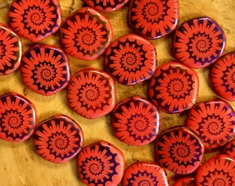 6 Red Orange Opaque Ammonite Nautilus Flat Round Spiral Puffed Coin Czech Glass Beads 20mm 6 pcs