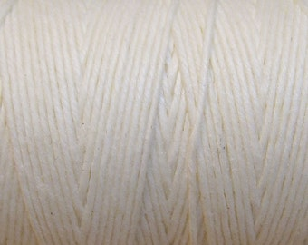 White Waxed Linen Cord 4 ply 10 yards for Macrame Kumihimo Knotting