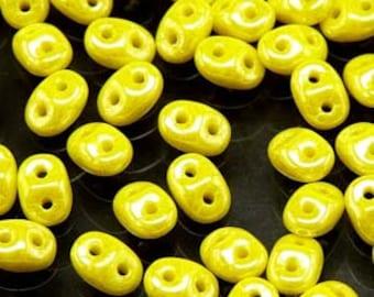 Mini Duo Lemon Luster Matubo Pressed Glass Two Hole Miniduo Beads 2x4mm 8 grams